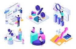 Audit financier Graphique de budget, expert en matière d'impôts et ensemble isométrique d'illustration du vecteur 3D d'évaluation illustration libre de droits