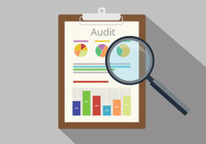 Audit graph data analysis result. Paper result document finance financial report Stock Photo