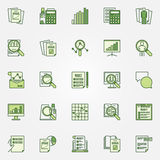 Audit green icons collection. Vector financial statement analysis colorful symbols. Business and financial creative signs Stock Photography