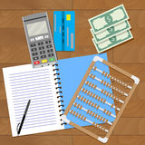 Audit of home budget. Saving finance, accounting and paying, vector illustration Stock Images