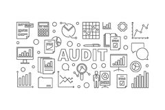 Audit horizontal vector banner or illustration. Made with data analysis and graph line icons Royalty Free Stock Image