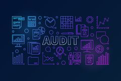 Audit horizontal vector colorful banner. Or illustration made with data analysis and graph line icons on dark background Stock Photography