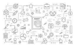 Audit icons set. Line icons on white background Royalty Free Stock Photo