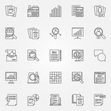Audit icons set. Vector financial audit signs in thin line style. Business and analytics outline minimal symbols Royalty Free Stock Photos