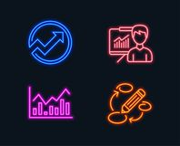 Audit, Infochart and Presentation icons. Keywords sign. Arrow graph, Stock exchange, Education board. Neon lights. Set of Audit, Infochart and Presentation Stock Image
