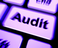 Audit Keyboard Shows Auditor Validation Or Inspection Stock Photo