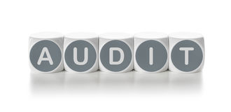 Audit. Letter dice on a white background - Audit Royalty Free Stock Photos