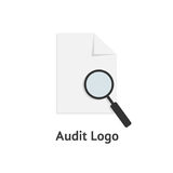 Audit logotype with sheet of paper and magnifying glass. Concept of infographic element, search, management, office.  on white background. flat style modern Stock Photos