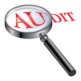 Audit Magnified. Illustration presenting the concept of being audited or of performing an audit Royalty Free Stock Photos