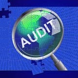 Audit Magnifier Means Auditor Searches And Magnify. Audit Magnifier Showing Searches Auditing And Inspect Stock Images