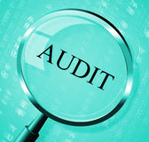 Audit Magnifier Shows Searching Auditing And Magnification Stock Images