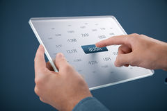 Audit. Man click on button audit on futuristic glass tablet Stock Photos