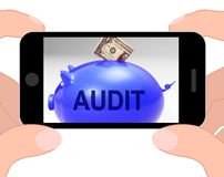 Audit Piggy Bank Displays Auditing Inspecting And Finances Stock Photo
