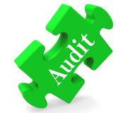 Audit Puzzle Shows Auditor Validation Scrutiny Or Inspection Stock Photo