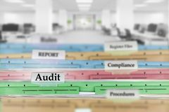 Audit report files and other documents at the office royalty free stock images