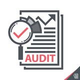 Audit Symbol icon. Magnifier on a report sheet symbol icon  isolated on white, Audit concept. Vector illustration. Logo template design Royalty Free Stock Photo