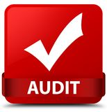 Audit (validate icon) red square button red ribbon in middle Stock Photography