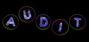 The audit word in bubble. The audit word in soap bubble on black background,3d rendered Royalty Free Stock Photography