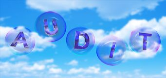 The audit word in bubble. The audit word in soap bubble on blue sky background,3d rendered Stock Image