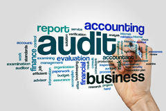 Audit word cloud concept. Audit word cloud on grey background Stock Photography