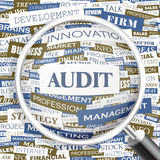 AUDIT. Word cloud illustration. Tag cloud concept collage Royalty Free Stock Image