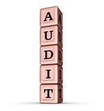 Audit Word Sign. Vertical Stack of Rose Gold Metallic Toy Blocks Royalty Free Stock Photos