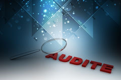 Audit word under a magnifying glass Stock Photography