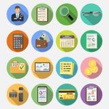 Auditant, impôt, icônes plates de comptabilité réglées illustration de vecteur