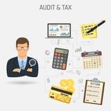 Auditant, processus d'impôts, bannière de comptabilité illustration libre de droits