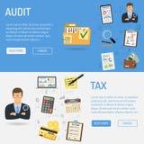 Auditant, processus d'impôts, bannières de comptabilité illustration stock