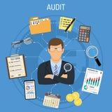 Auditant, processus d'impôts, concept de comptabilité illustration de vecteur