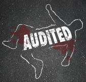 Audited Chalk Outline Dead Body Accounting Review Bad Bookkeepin Royalty Free Stock Photos