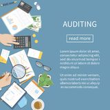 Auditing, accounting, analysis, analytics. Auditor inspects financial documents.  Businessman hands with magnifying glass. Above documents on the desk Vector Stock Images