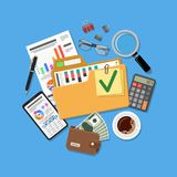 Auditing and Accounting Concept. Auditing, Business Accounting Concept. Folder with checked up Financial Reports, Calculator and money. Flat Style Icons Royalty Free Stock Image