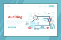 Auditing, analysis, accounting, calculation, analytics. Auditor checks the documents. Graphs, charts on the monitor screen. landin. G page template or web banner vector illustration