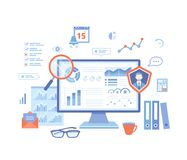 Auditing, analysis, accounting, calculation, analytics. Auditor checks the documents. Graphs, charts on the monitor screen. Vector illustration on white royalty free illustration