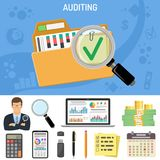 Auditing, Business Accounting Concept. Auditor Holds Magnifying Glass in Hand. Flat Style Icons Folder with checked up Financial Reports, Calculator and money Royalty Free Stock Photo