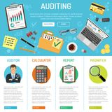 Auditing and Business Accounting Infographics. Auditing, Tax, Business Accounting banner and Infographics with flat style icons folder, laptop, charts and Royalty Free Stock Images