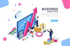 Auditing Business Analysis Characters Concept. Auditing, business analysis concept with characters. Concept of opportunities. Graphic and audit documentation royalty free illustration