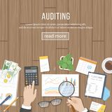 Auditing concepts. Auditor inspects assessing financial documents, prepares a report. Businessman hands with magnifying glass. Accounting, analysis, analytics Stock Photos