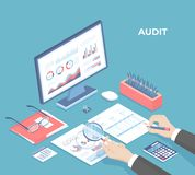 Auditing concepts. Businessman auditor inspects financial documents and fill a report form. Man`s hand with magnifier. Monitor, gr royalty free stock photo