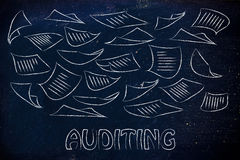 Auditing procedures: design with business documents flying Royalty Free Stock Photography