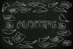 Auditing procedures: design with business documents flying. Corporate auditing, illustration with plenty of document pages flying all around Royalty Free Stock Images