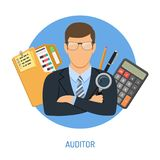 Auditor and Accounting Concept. Auditing, Tax, Accounting Concept. Auditor Holds Magnifying Glass in Hand and Checks Financial Report with Charts, Calculator and Royalty Free Stock Photos