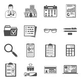 Auditing, Tax, Accounting icons set. Set Auditing, Tax process calculation, Business Accounting icons in flat style. Calculator, Magnifying Glass, Auditor Royalty Free Stock Image
