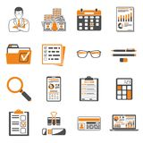 Auditing, Tax, Accounting two color icons set. Set Auditing, Tax process calculation, Business Accounting two color icons in flat style. Calculator, Magnifying Royalty Free Stock Images