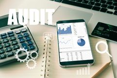 Auditing tax, Analyze return on investment. royalty free stock photography
