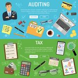 Auditing, Tax and Business Accounting Banners. Auditing, Tax, Business Accounting banners with flat style icons auditor, folder, laptop, charts and calculator Royalty Free Stock Photos