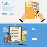 Auditing, Tax and Business Accounting Banners. Auditing, Tax, Business Accounting banners with flat style icons folder, tax form, charts and calculator. Isolated Royalty Free Stock Photography
