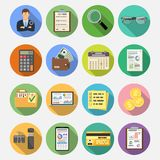 Auditing, Tax, Accounting Flat Icons Set. Auditing, Tax, Business Accounting Flat Icons Set on colored circles with Long Shadows. Auditor Holds Magnifying Glass Royalty Free Stock Photography